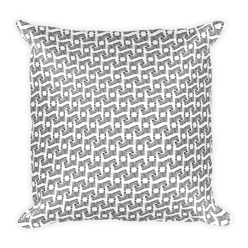 Zebra Pattern Square Pillow - Black and White