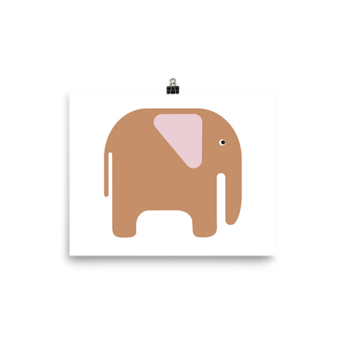 Elephant Poster - Beige and Pink