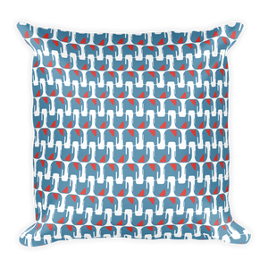 Elephants Pattern Square Pillow - Blue and Orange