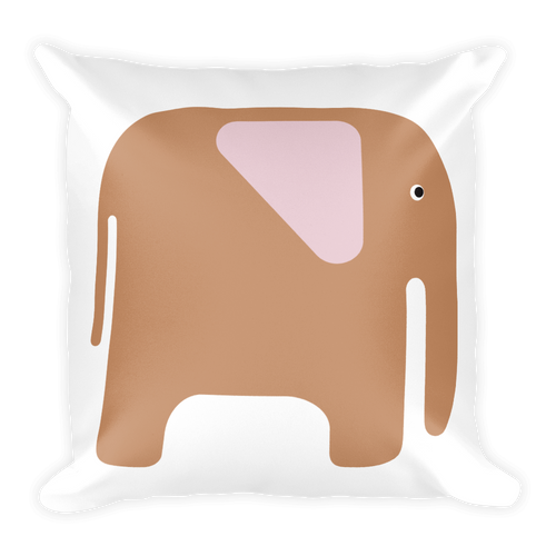 Elephant Square Pillow - Beige and Pink