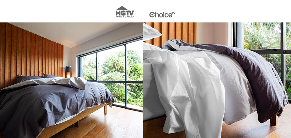 The Classic Hotel Sheet with the Charcoal & Slate Duvet Cover