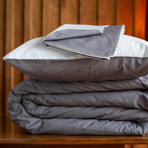 The Classic Reversible Charcoal & Slate Duvet Cover Set