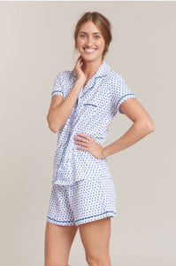 Roller Rabbit Hearts PJ Polo Set in Blue