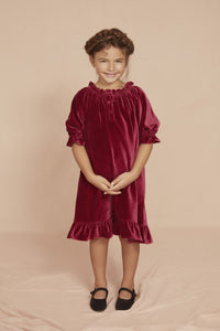 Seraphina Little Carousel Dress in Rich Red Cotton Velvet