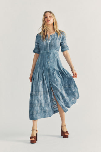 Love Shack Fancy Edie Dress in Washed Denim