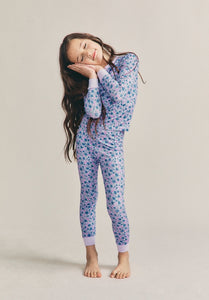 Love Shack Fancy x Morgan Lane Girls Lulu Pj Set in Crushed Blueberries