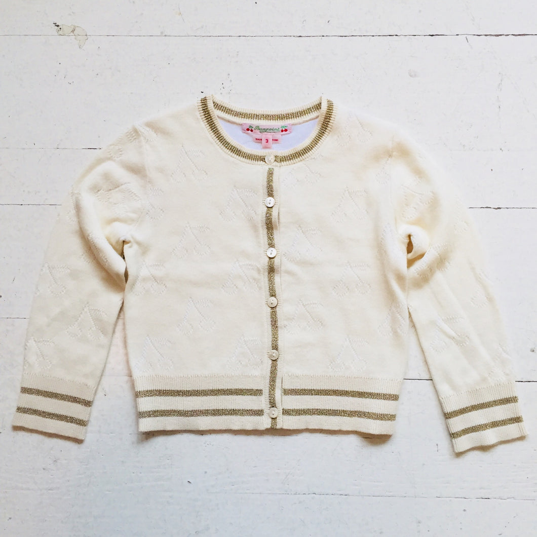Bonpoint Cherry Cardigan in Milk White