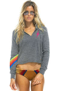 Aviator Nation Bolt Stitch Chevron 5 Split Neck Pullover Cropped Hoodie in Heather Neon