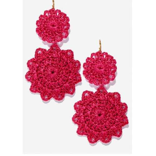 Roberta Roller Rabbit Macrame Earrings in Berry