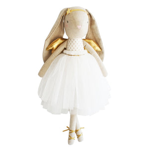 Alimrose Estelle Linen Angel Bunny in Gold