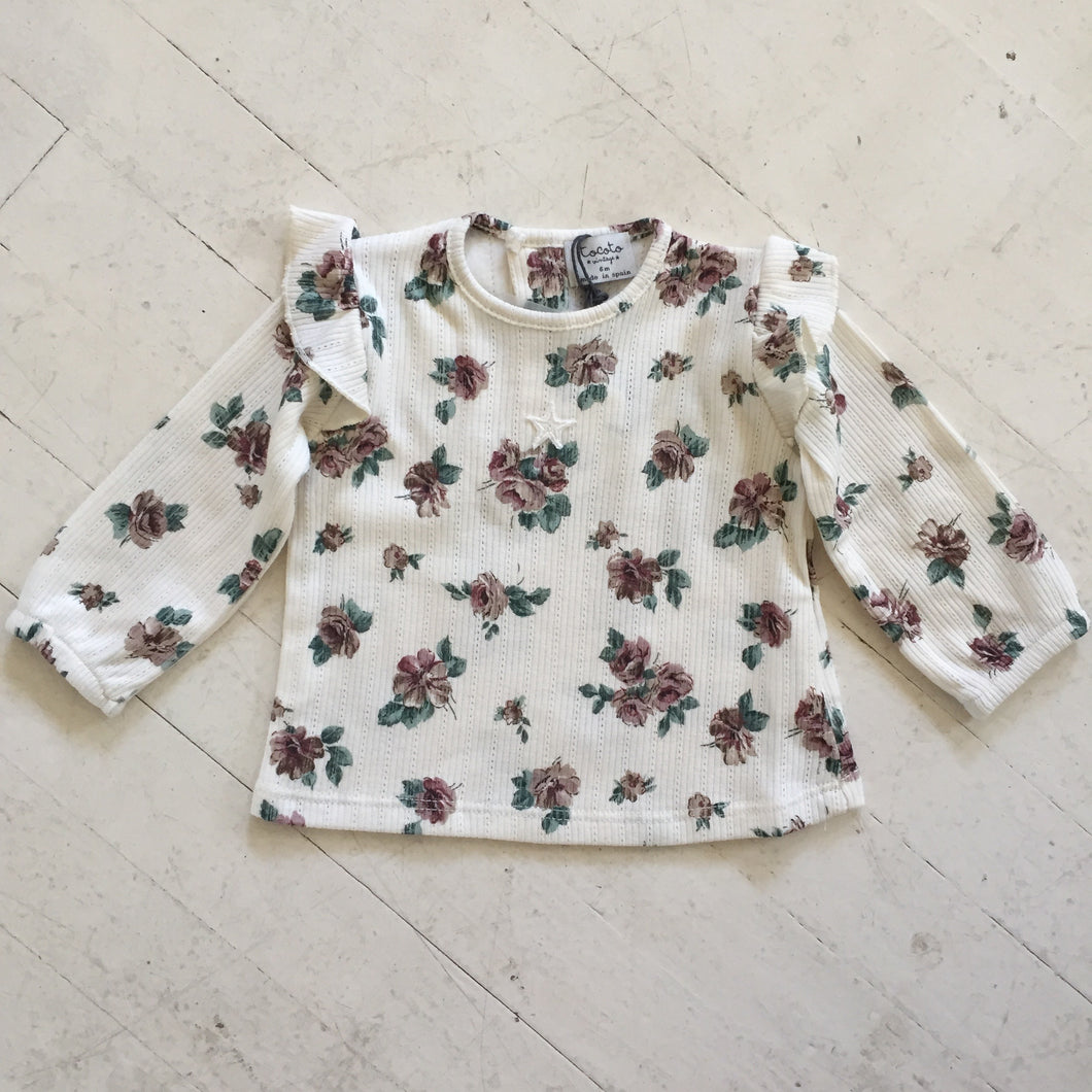 Tocoto Vintage Flower Print Ribbed Top