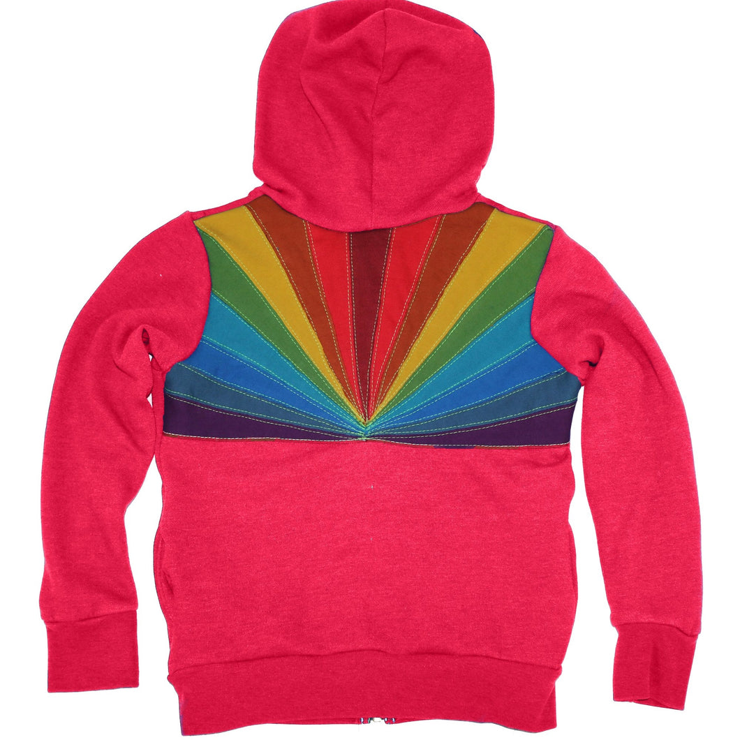 Aviator Nation Hot Pink Sunburst 2 Zip Hoodie