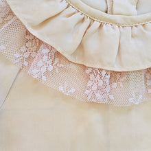 Poeme & Poesie Heirloom Blouse with ruffle collar & Tulle Lace in Peach