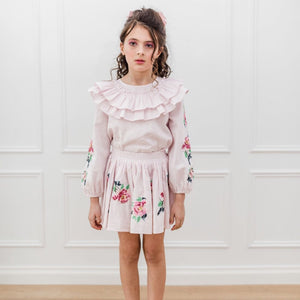 Petite Amalie Embroidered Sleeve Linen Blouse