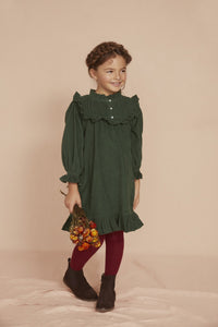 Seraphina Little Pleat Dress in Fern Green Baby Thin Corduroy