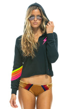 Aviator Nation Bolt Stitch Chevron 5 Split Neck Pullover Cropped Hoodie in Charcoal Neon
