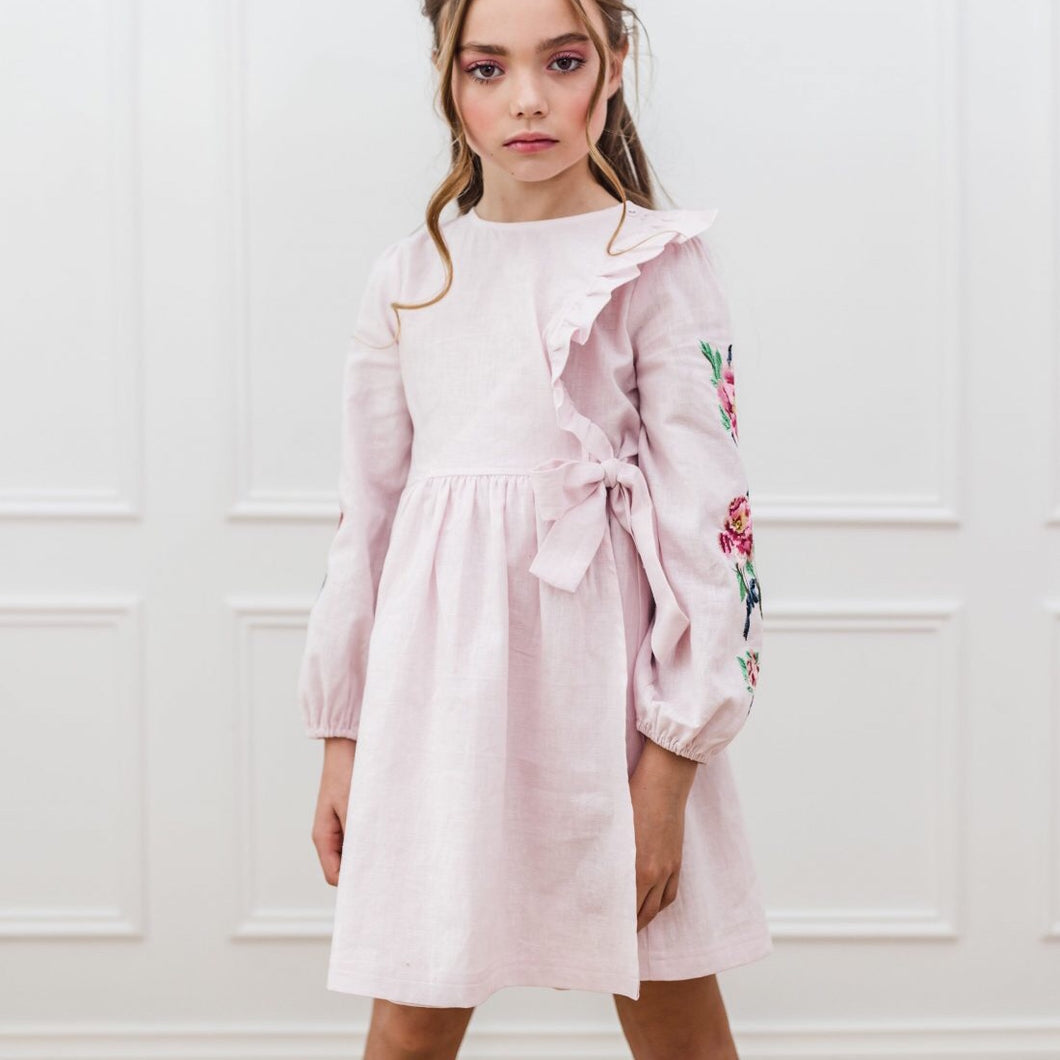 Petite Amalie Embroidered Sleeve Linen Dress