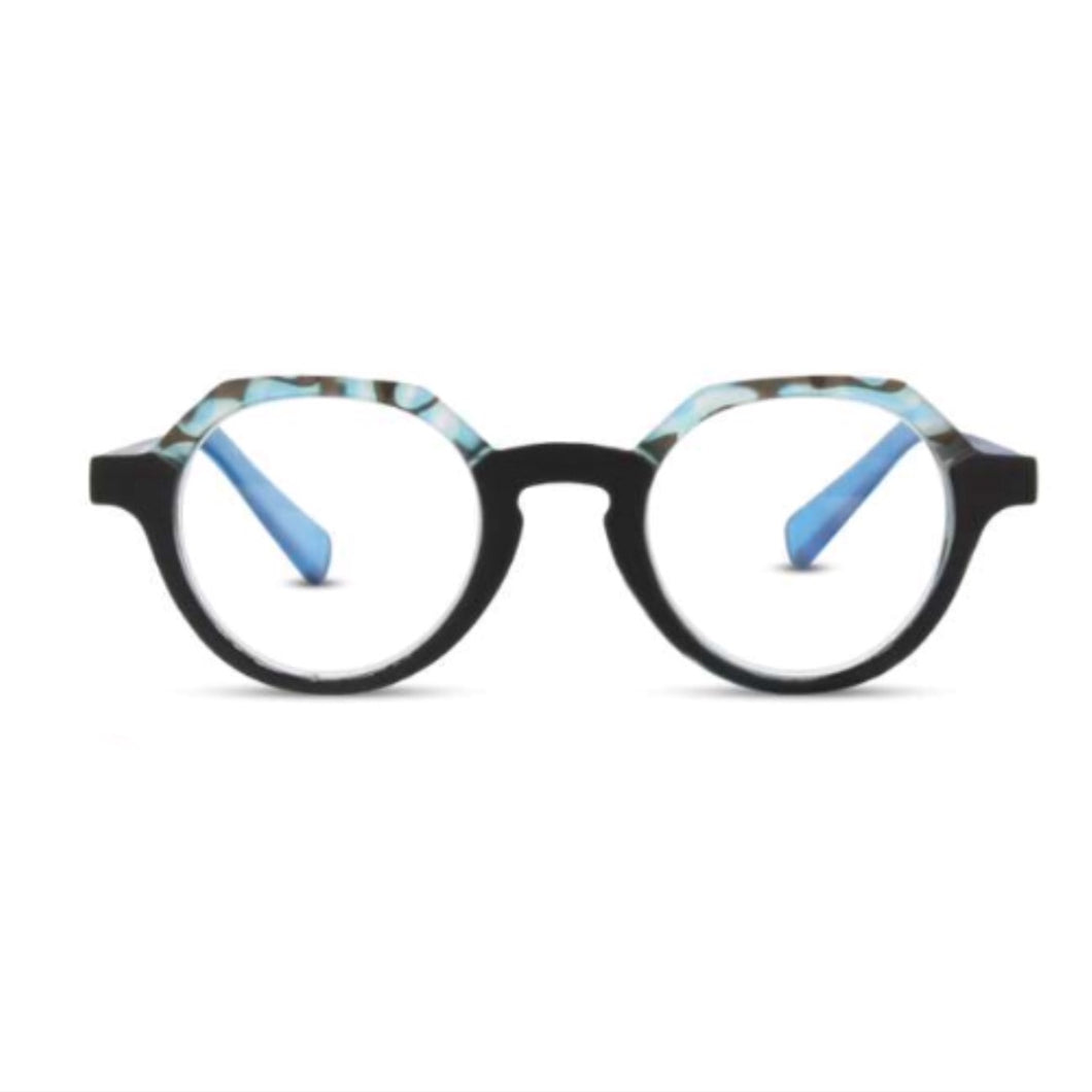 RS Eyeshop Hexagonal Blue Torturous Glasses