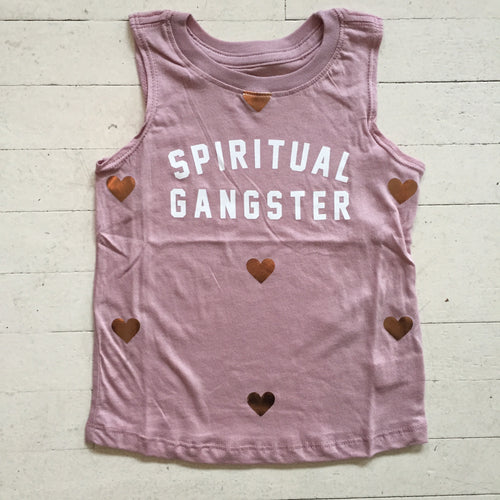 Spiritual Gangster Girls Muscle Tank in Rose Quartz Heart Print