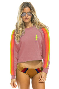 Aviator Nation Bolt Embroider Classic Crop Crew in Petal