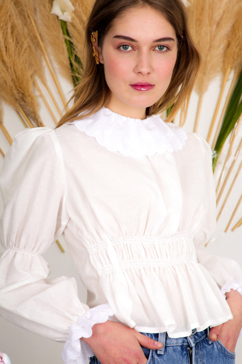 Aurore Van Milhem Jeanne Top in White, AVAILABLE for PRE-ORDER