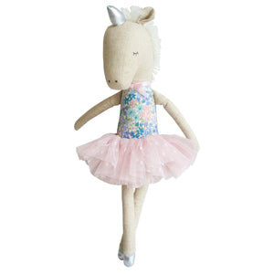 Alimrose Unicorn Doll in Blue Floral