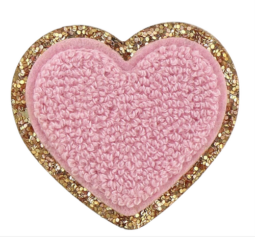Stoney Clover Glitter Heart Patch in Flamingo