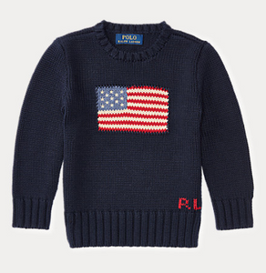 Ralph Lauren Flag Cotton Crewneck Sweater in Navy