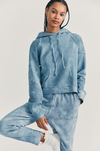 Love Shack Fancy Anarosa Hoodie in Washed Denim Hand Dye