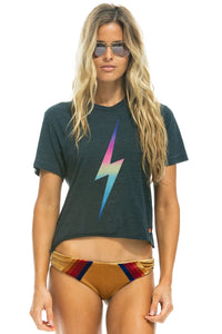 Aviator Nation Bolt Boyfriend Tee in Rainbow Pink