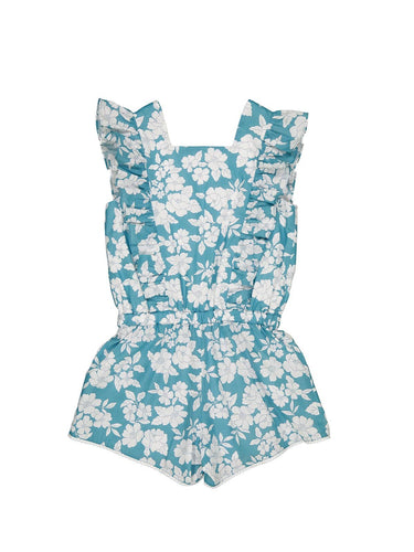 Petite Lucette Agapanthe Romper in Mint Garden