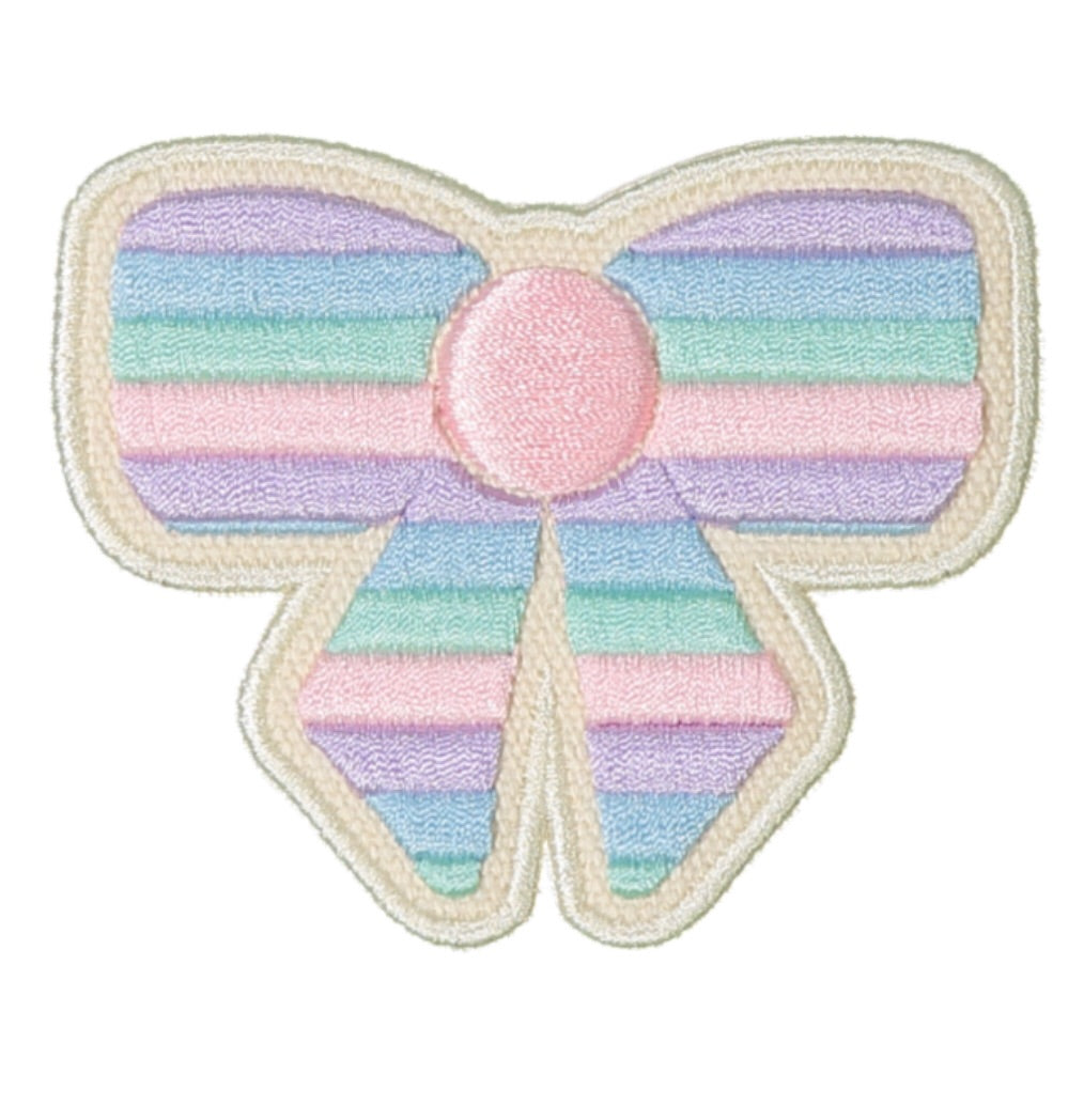 Stoney Clover Lane Pastel Rolled Embroidery Bow Sticker Patch