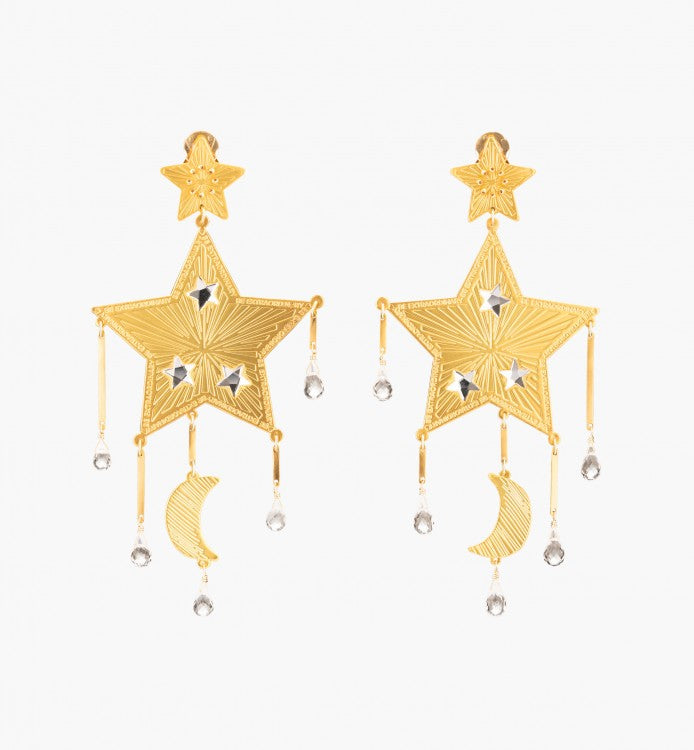 Mercedes Salazar White Shooting Star Earrings