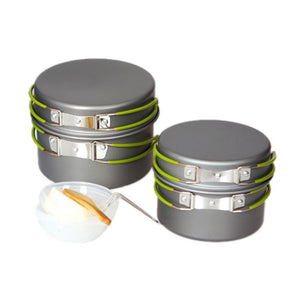 New arrived Outdoor Camping Hiking Cookware Backpacking Cooking Picnic Bowl Pot Pan Set #W24
