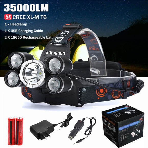 High Quality 15000LM LED Headlight Flashlight Torch Cree 3x XM-L T6 Headlamp Head Light Lamp