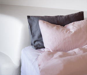Soft Pink 100% Hemp Linen Bed Set