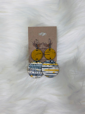 Yellow, Navy & Yellow Striped Dangle Earrings