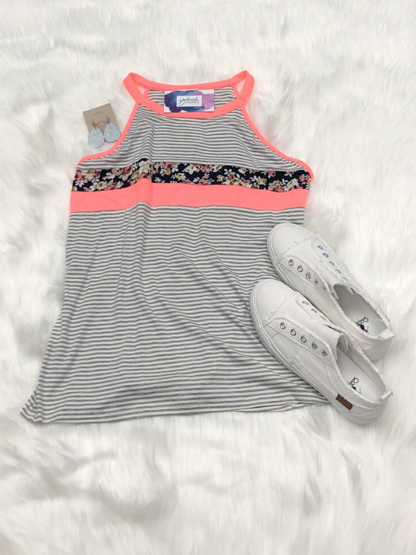 Sleeveless Color Block Tank Top