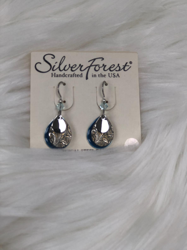 3 PC dangled silver earrings with blue