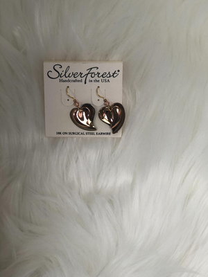 Two tone heart shape earrings
