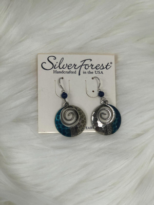 2 PC dangled silver & blue earrings