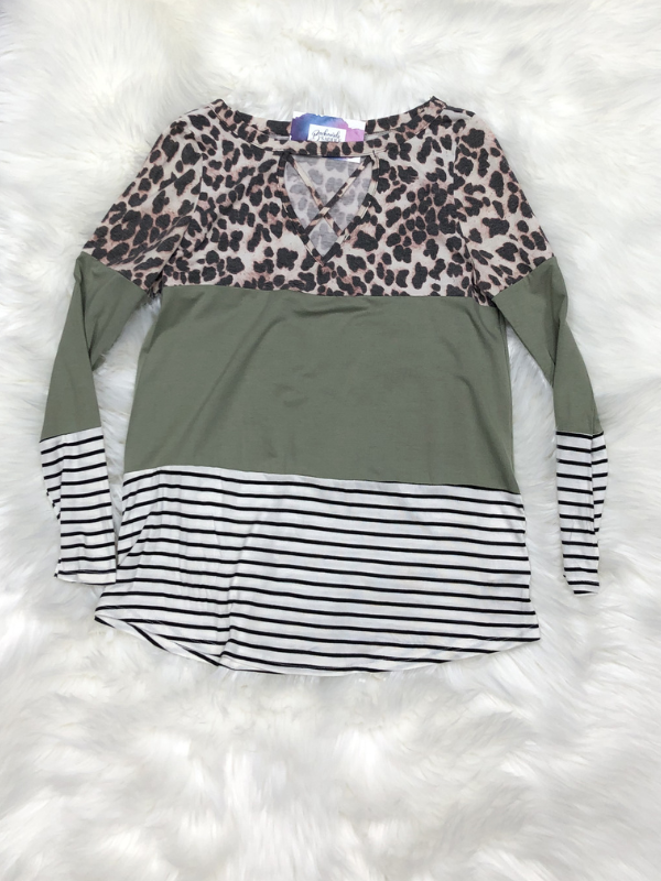 Olive Leopard Criss Cross Top