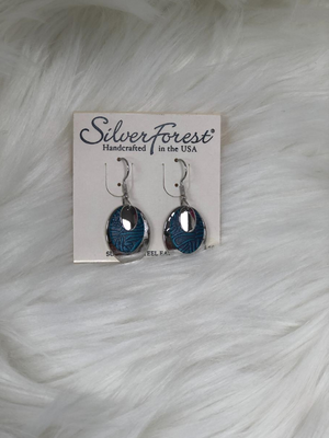 3 PC dangled silver & textured blue earrings