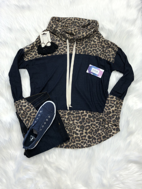 Navy and Leopard Cow Neck pullover