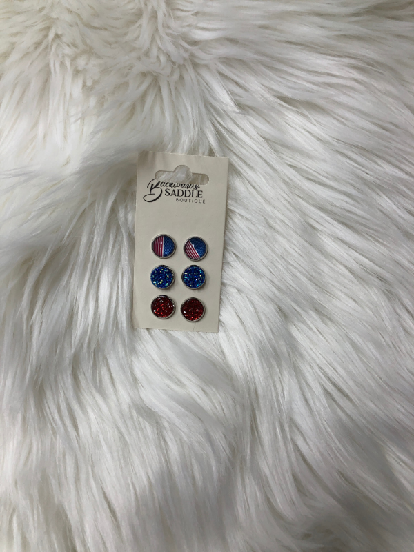 Red, blue, and flag earrings