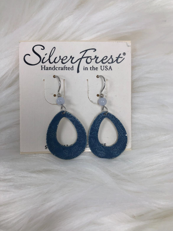 Eched denim blue  earrings