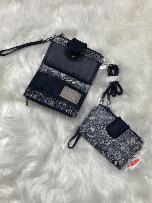 The Sak cross body or wristlet wallet navy