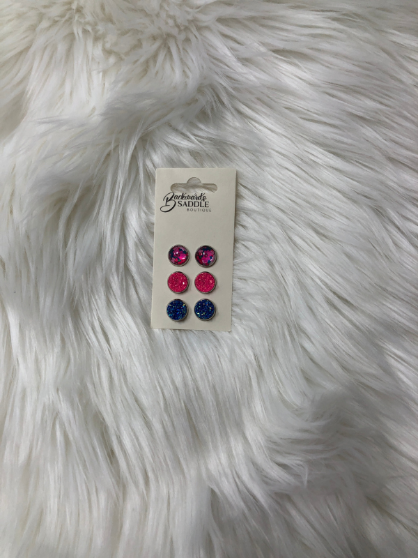 Blue & Hot Pink & Floral Earrings