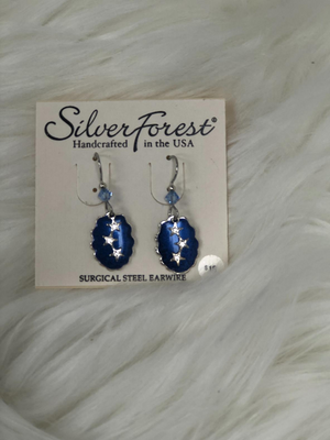 Blue marble effect with stars earrings