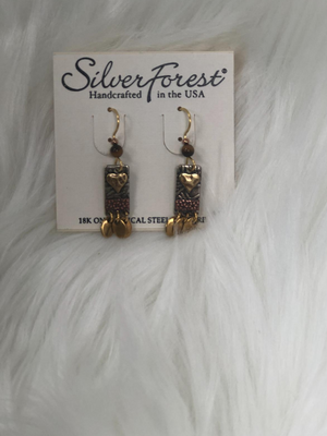 Silver/gold rectangle earrings